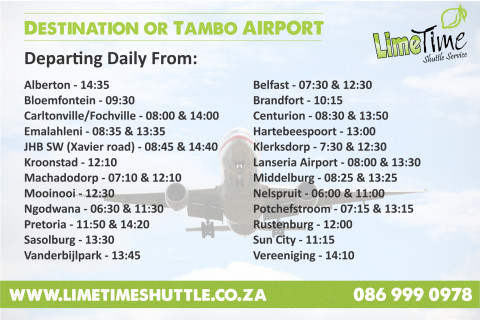 Limetime Shuttle ~ Destination OR Tambo International