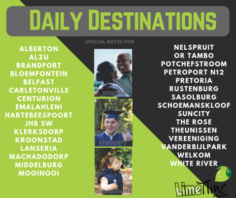 Limetime Shuttle ~ View our Daily Destinations
